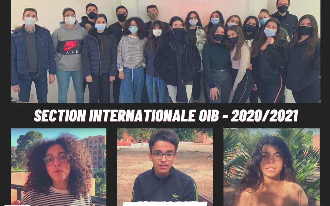 LES ELEVES DE LA SECTION INTERNATIONALE (OIB) EN VIDEO